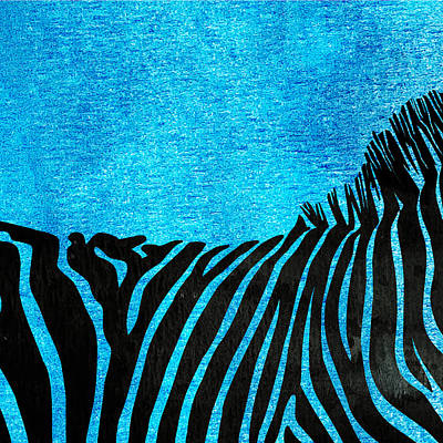 Pentaptych Painting - Zebra Animal Blue Decorative Poster 2 - By  Diana Van by Diana Van