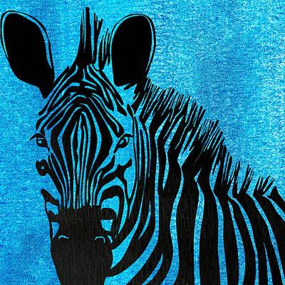 Zebra Animal Blue Decorative Poster 4 - By  Diana Van Print by Diana Van