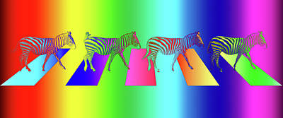 Zebra Crossing Pop Art Print by Gill Billington