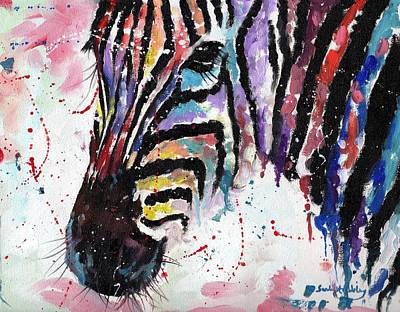 Abstract Zebra Painting - Zebra Dream Series by Sarah Stribbling
