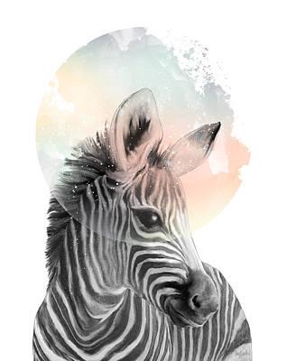 Zebra Mixed Media - Zebra // Dreaming by Amy Hamilton