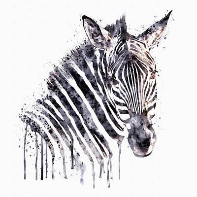 Zebra Digital Art - Zebra Head by Marian Voicu