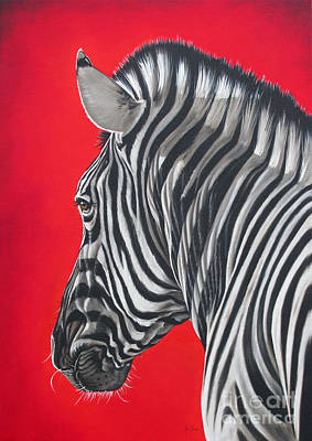 Black Red And White Painting - zebra in African sun by Ilse Kleyn