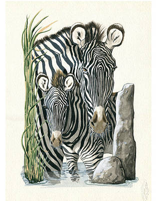 Zebra Painting - Zebra Mother And Colt Protect Our Children Painting by Linda Apple