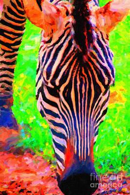 Zebra Digital Art - Zebra . Photoart by Wingsdomain Art and Photography