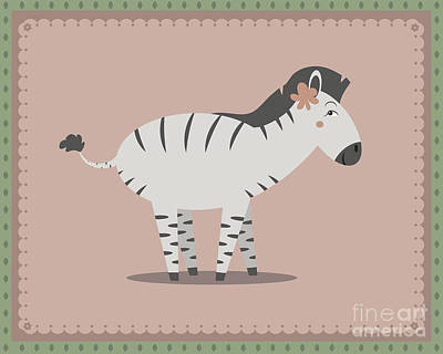 Cartoon Animals Painting - Zebra Posing by Pablo Romero