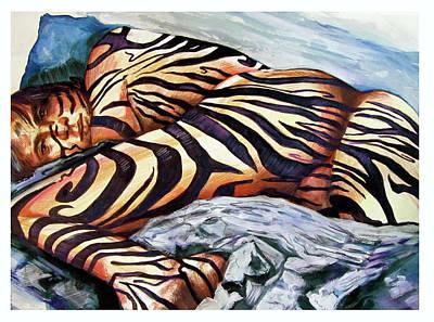 Homoerotic Drawing - Zebra Seduction by Rene Capone