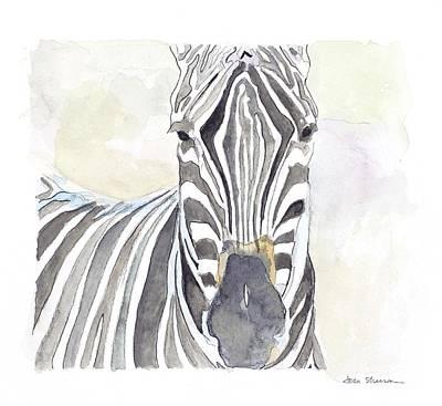 Zebra Painting - Zebra Stare by Joan Sharron