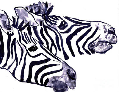 Zebra Painting - Zebra Twins by Doris Blessington