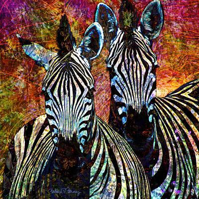 Black And White Horses Digital Art - Zebras by Barbara Berney