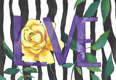 Zebras In Love Print by Faith Teel