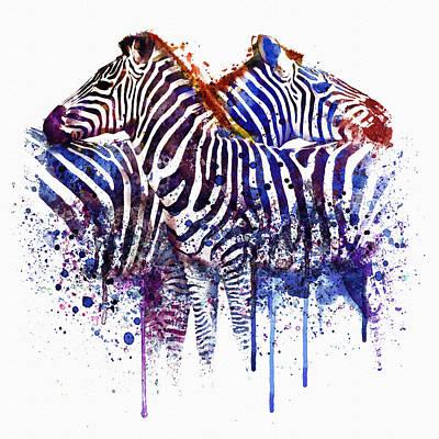 Watercolor Digital Art - Zebras In Love by Marian Voicu