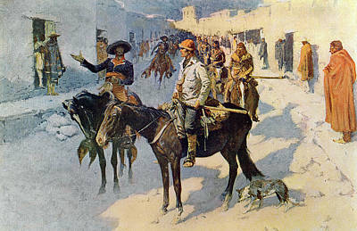 Explorer Drawing - Zebulon Pike Entering Santa Fe by Frederic Remington
