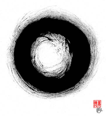 Enso Painting - Zen Circle Three by Peter Cutler