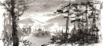 Zen Ink Landscape 2 Print by Sean Seal