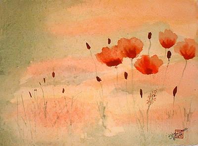 Zen Poppies Print by Arlene  Wright-Correll