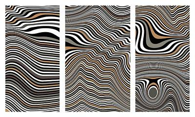 Op Art Digital Art - Zen Stone Garden Triptych by Pet Serrano