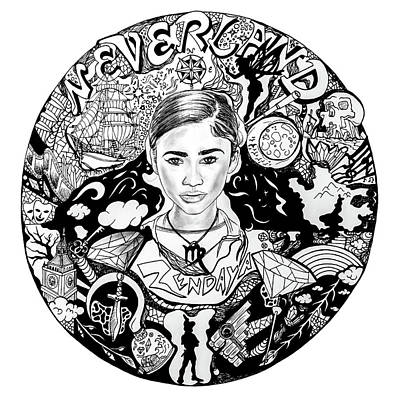 Drawing - Zendaya's Neverland Black And White Drawing by Kenal Louis