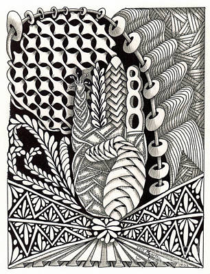 American Sign Language Drawing - Zentangle Art B Hand by Martha Cuzzolino