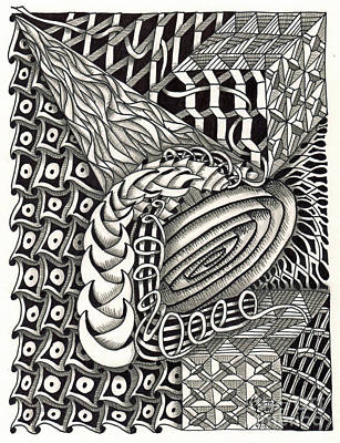 American Sign Language Drawing - Zentangle Art C Hand by Martha Cuzzolino