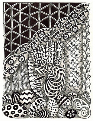 American Sign Language Drawing - Zentangle Art E Hand by Martha Cuzzolino