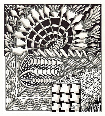 American Sign Language Drawing - Zentangle Art G Hand by Martha Cuzzolino