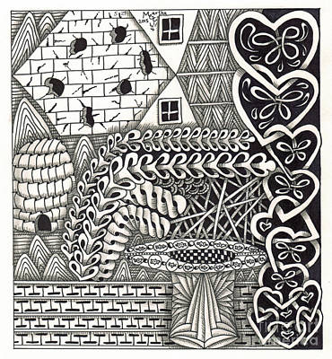 American Sign Language Drawing - Zentangle Art H Hand by Martha Cuzzolino