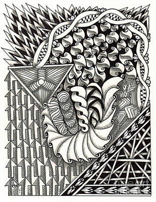 American Sign Language Drawing - Zentangle Art A Hand by Martha Cuzzolino