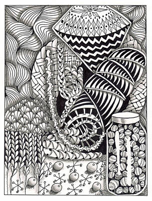 American Sign Language Drawing - Zentangle Art J Hand by Martha Cuzzolino