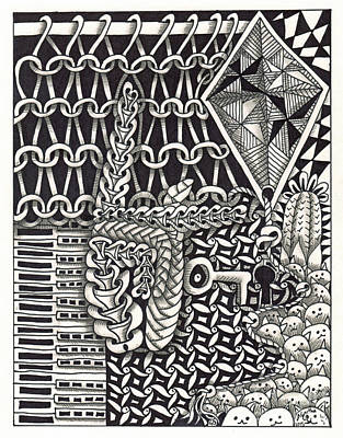 American Sign Language Drawing - Zentangle Art K Hand by Martha Cuzzolino