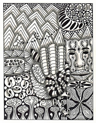 American Sign Language Drawing - Zentangle Art M Hand by Martha Cuzzolino