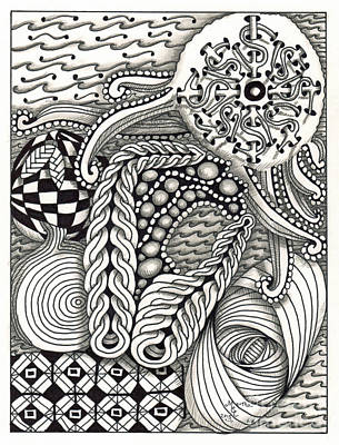 American Sign Language Drawing - Zentangle Art O Hand by Martha Cuzzolino
