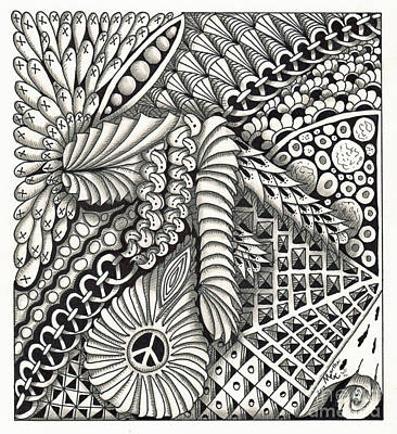 American Sign Language Drawing - Zentangle Art P Hand by Martha Cuzzolino