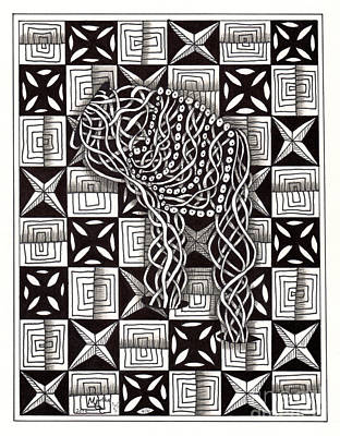 American Sign Language Drawing - Zentangle Art Q Hand by Martha Cuzzolino