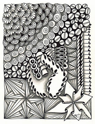 American Sign Language Drawing - Zentangle Art S Hand by Martha Cuzzolino