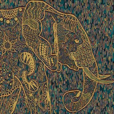 Ipad Design Painting - Zentangle Elephant-oil Gold by Becky Herrera