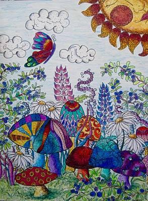 Blueberry Drawing - Zentangle Garden by Megan Walsh