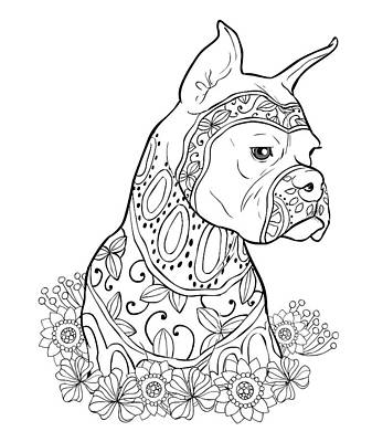Pitbull Painting - Zentangle Boxer by Cindy Elsharouni