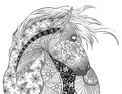Indian Ink Painting - Zentangled Horse by Cindy Elsharouni