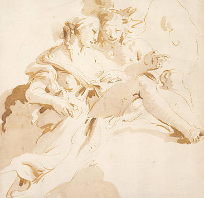 Ink Wash Drawing Drawing - Zephyr And Flora by Tiepolo