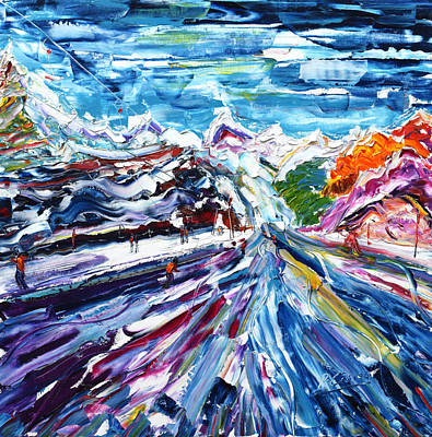 Snowboarder Painting - Zermatt Or Cervinia by Pete Caswell