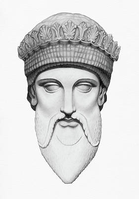 Statue Portrait Drawing - Zeus - King Of The Gods by Stevie the floating artist