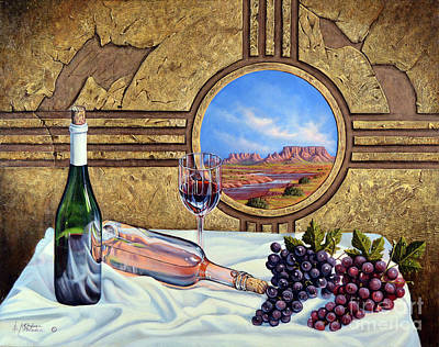 Table Wine Painting - Zia Wine by Ricardo Chavez-Mendez