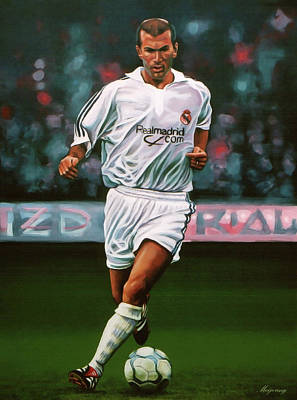 Zidane At Real Madrid Painting Print by Paul Meijering