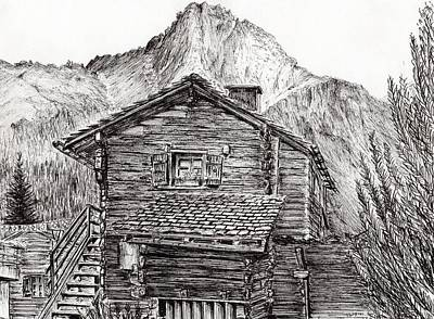 Pen And Ink Tree Drawing - Zinal Switzerland by Vincent Alexander Booth