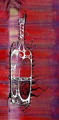 Wine-bottle Painting - Zinfandel by John Benko