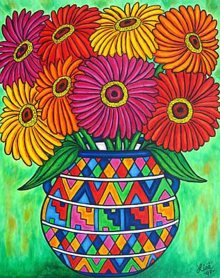 Vase Painting - Zinnia Fiesta by Lisa  Lorenz