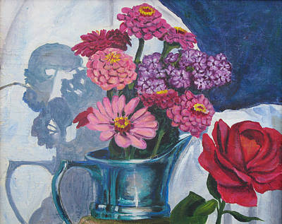 Zinnias And Rose In The Eveing Light  Print by Judy Loper