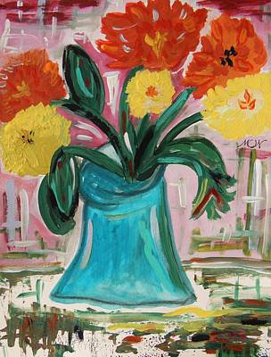 Primitive Drawing - Zinnias  Blue Vase  Old Table by Mary Carol Williams