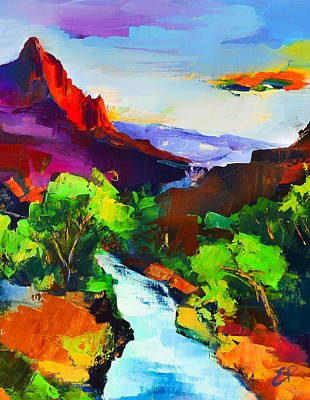 Canyon Painting - Zion - The Watchman And The Virgin River by Elise Palmigiani